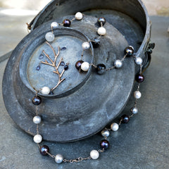 White and Black Pearls with Gemstones and Branch