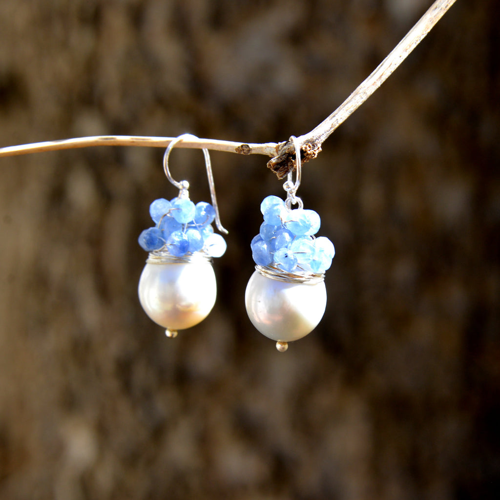 Freshwater Pearl Drop with Grape Semi-Precious Stone Cluster Earrings