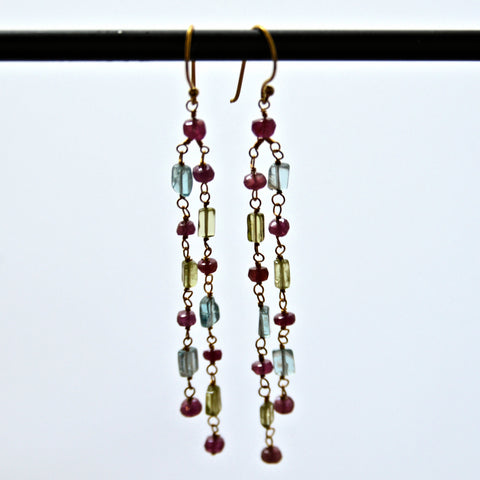Ruby, Papite & Peridot Gemstone Earrings