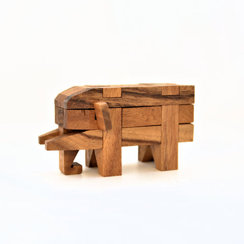 Rain Tree Wood Elephant Puzzle