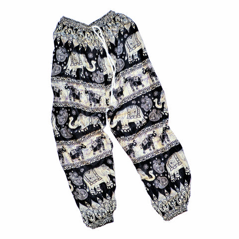 Youth Elephant Print Pants - Black