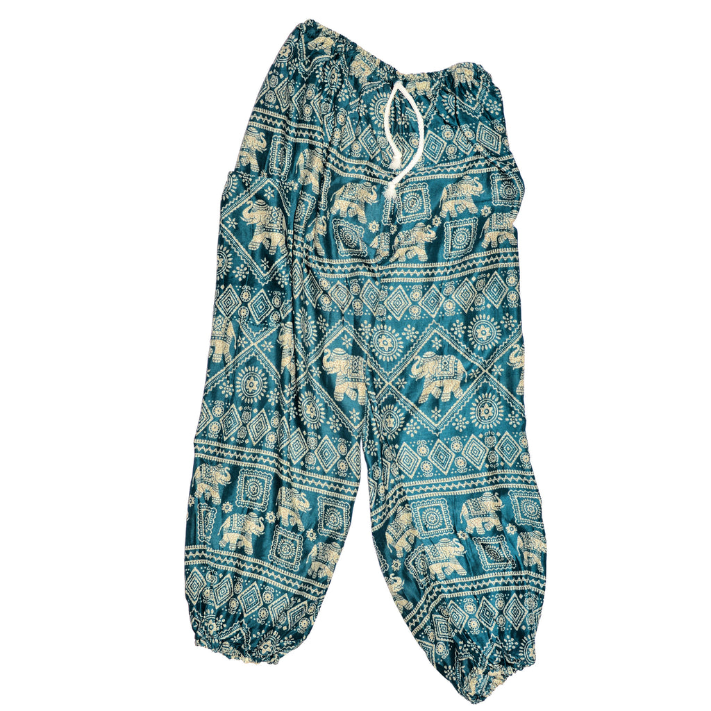 Elephant Print Pants - Teal