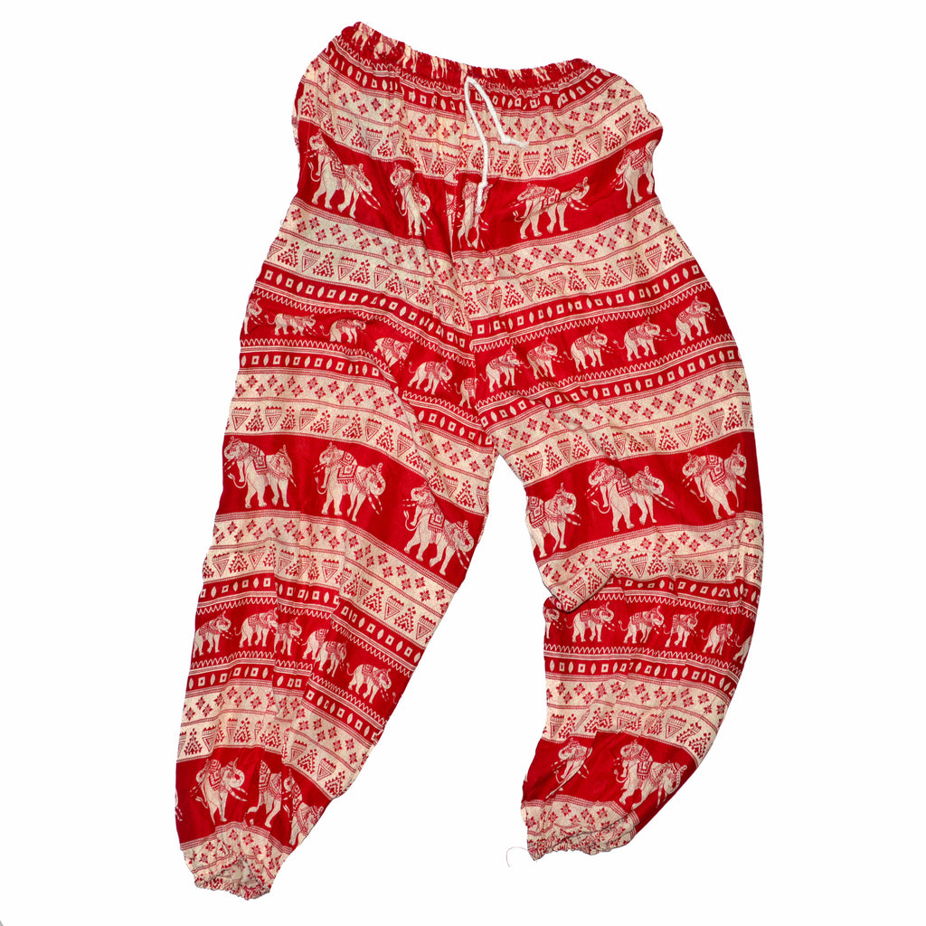 Elephant Print Pants - Red