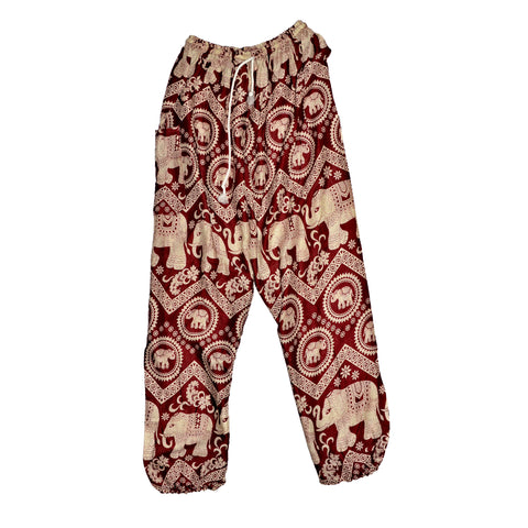 Elephant Print Pants - Dark Red
