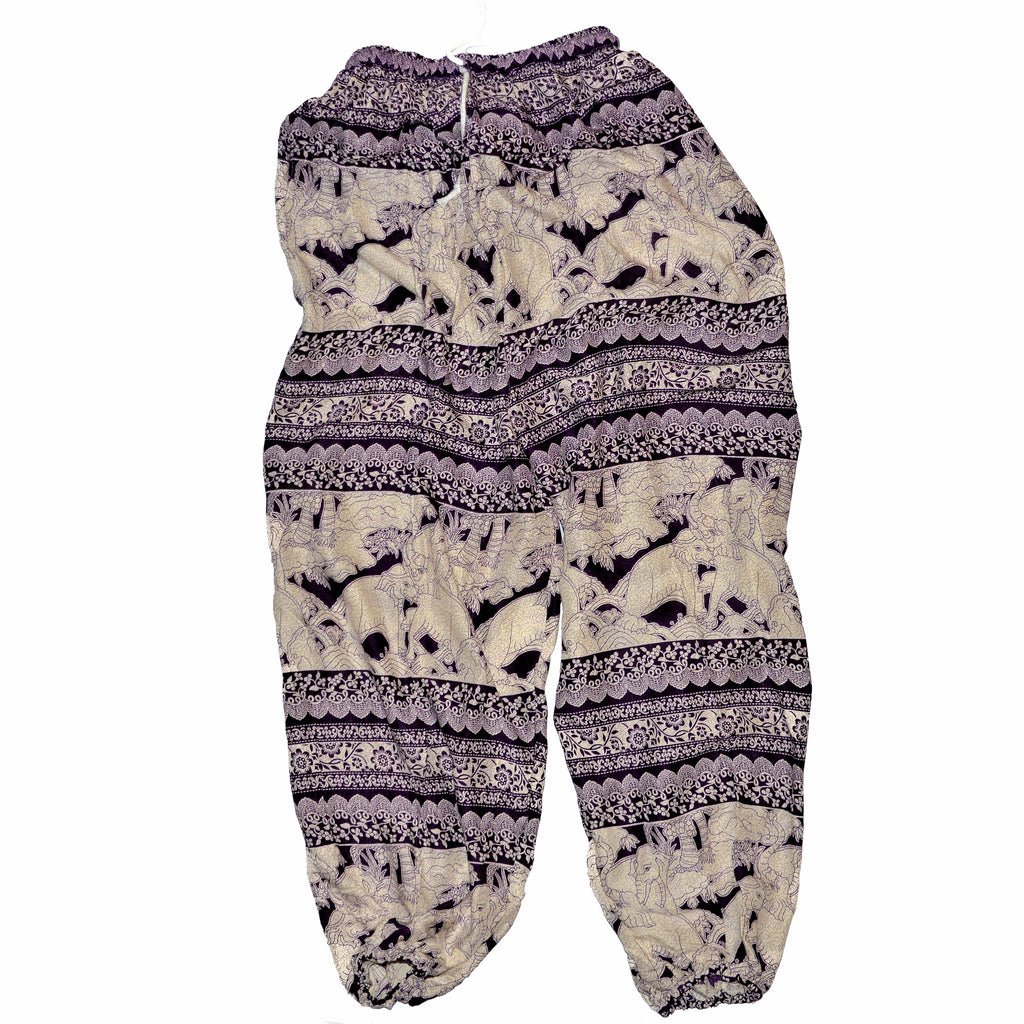 Elephant Print Pants - Purple