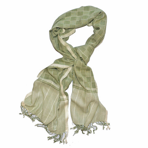 Green Herringbone Cotton Scarf