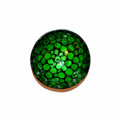 Oyster Shell Lacquered Coconut Bowl - Green and Black with Circle Shaped Shells