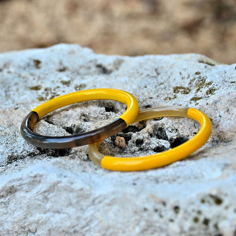 Lacquered Water Buffalo Horn Bangle Bracelet (Yellow)