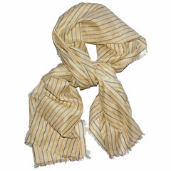 Pinstripe Silk Scarf - Yellow