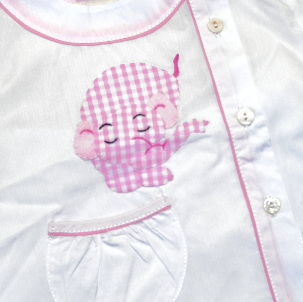 Cotton Pajamas - White with Pink Gingham Elephant and Pink Gingham Piping (3 Months)