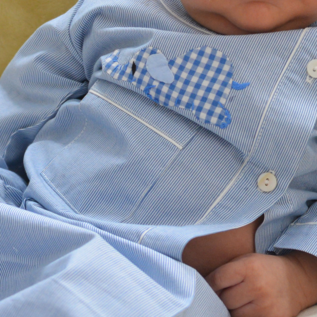 Cotton Pajamas - Blue and White Pinstripe with Blue Laying Elephant
