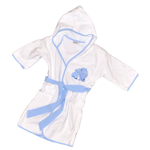 Two Elephant Terrycloth Bathrobe - Blue