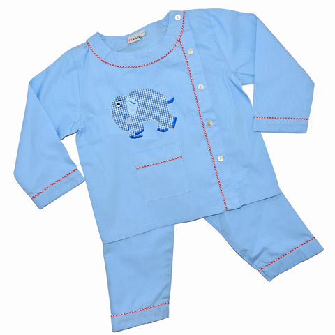Cotton Pajamas - Blue with Blue Standing Elephant and Red Checker Piping