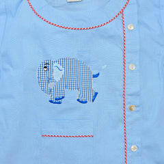 Cotton Pajamas - Blue with Blue Gingham Standing Elephant and Red Gingham Piping (4 Year)