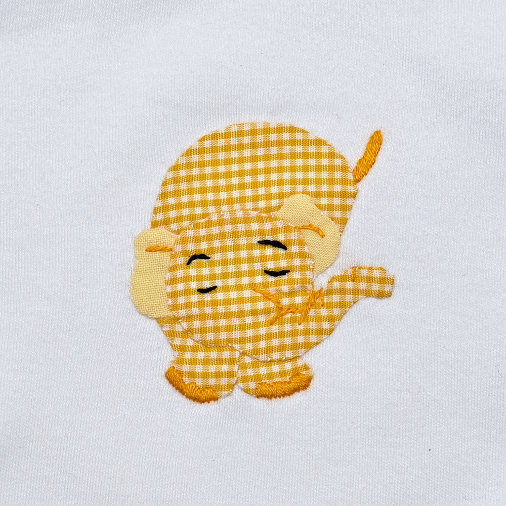 Long Sleeve Onesie - White with Yellow Elephant
