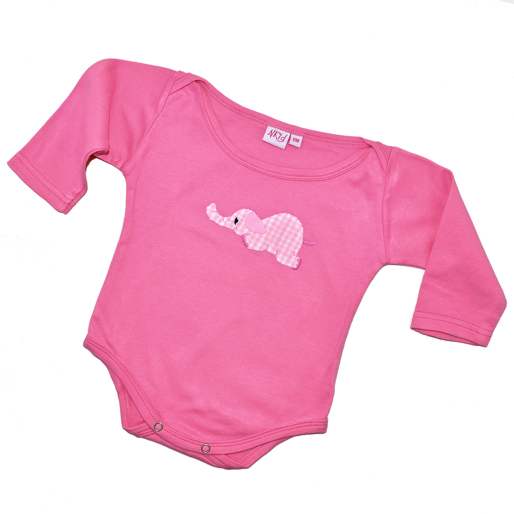 Long Sleeve Onesie - Dark Pink with Elephant