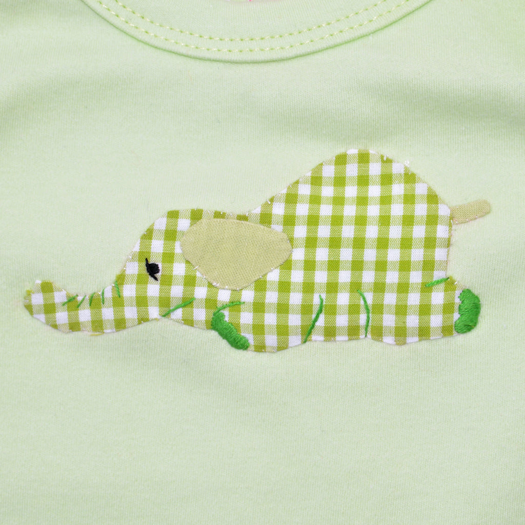Long Sleeve Onesie - Lime Green with Elephant