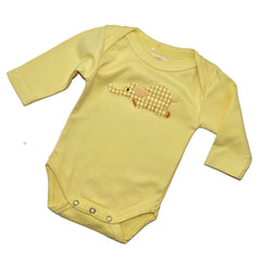 Long Sleeve Onesie - Yellow with Elephant