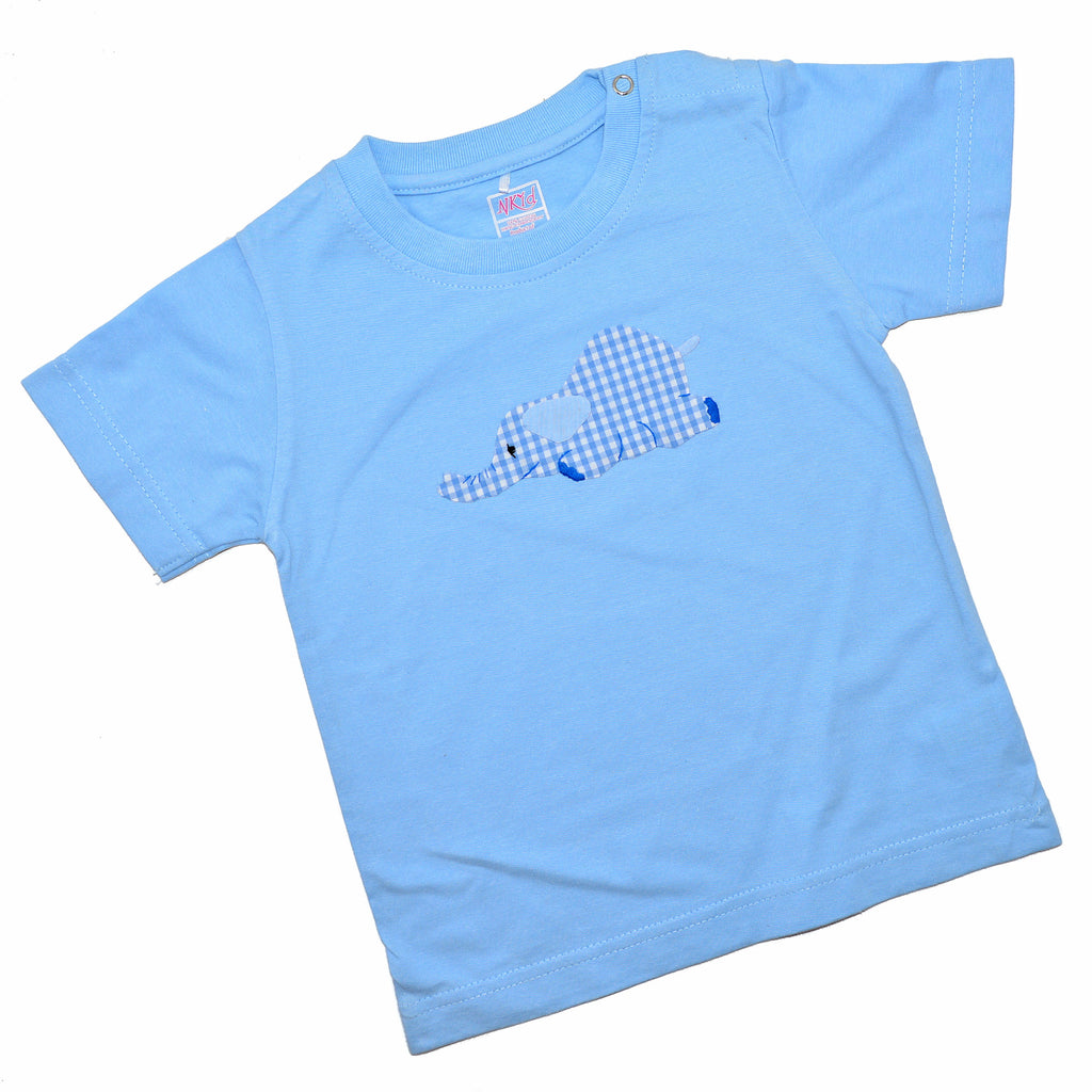 Short Sleeve Tee - Light Blue with Laying Elephant