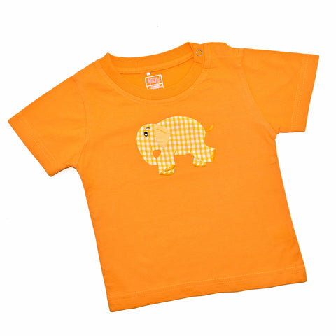 Short Sleeve Tee - Orange with Standing Elephant