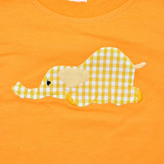 Short Sleeve Tee - Orange with Laying Elephant