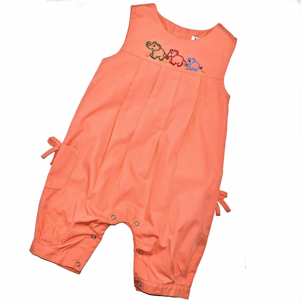 Onesie Jumper with Elephant Family - Peach