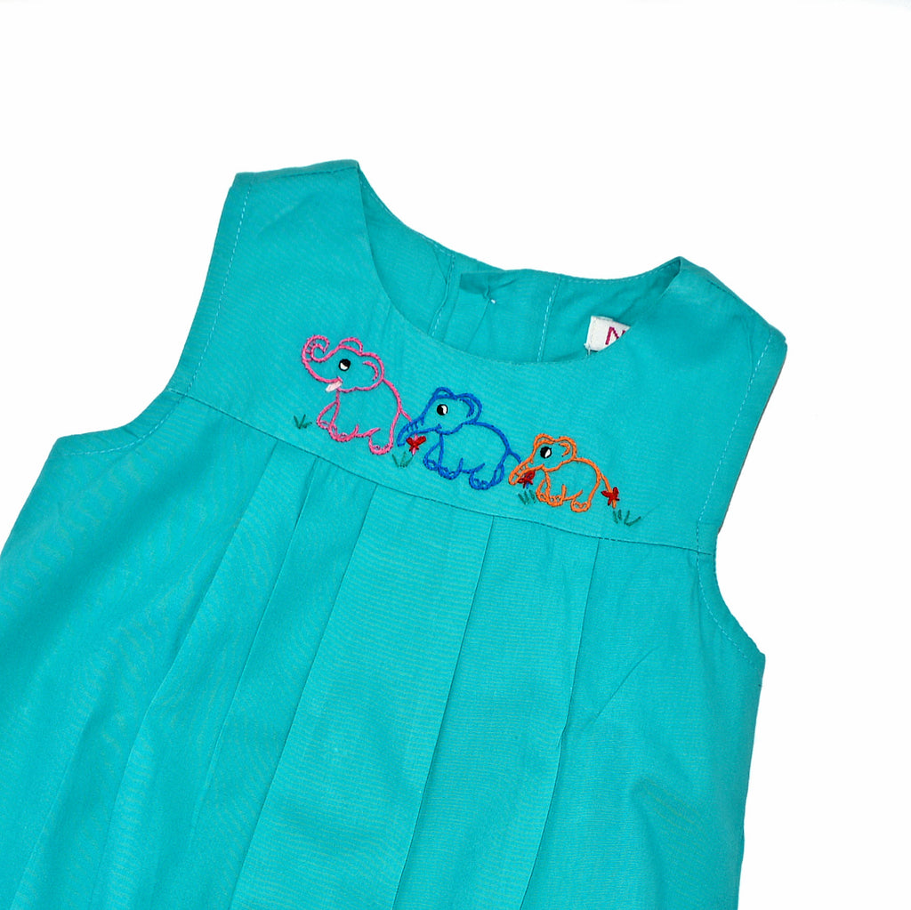 Onesie Jumper with Elephant Family - Turquoise