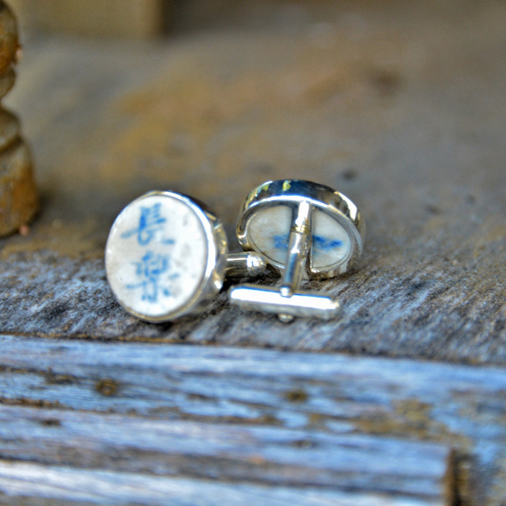 Siamese Chinese Porcelain Gambling Tokens & Silver Cuff Links
