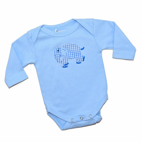 Long Sleeve Onesie - Light Blue with Standing Elephant
