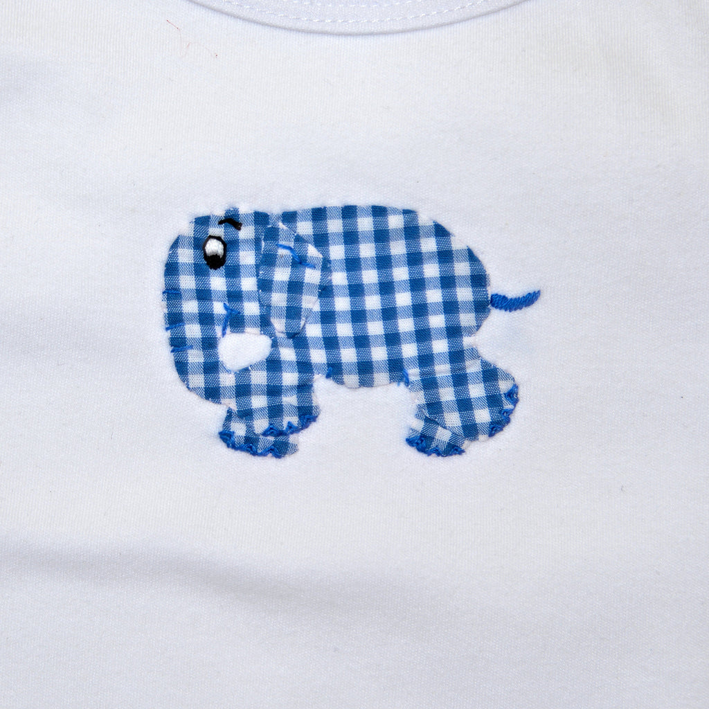 Short Sleeve Onesie - White with Blue Standing Elephant