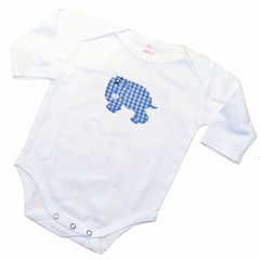Long Sleeve Onesie - White with Blue Standing Elephant