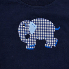 Long Sleeve Tee - Navy with Light Blue Sleeves - Standing Elephant