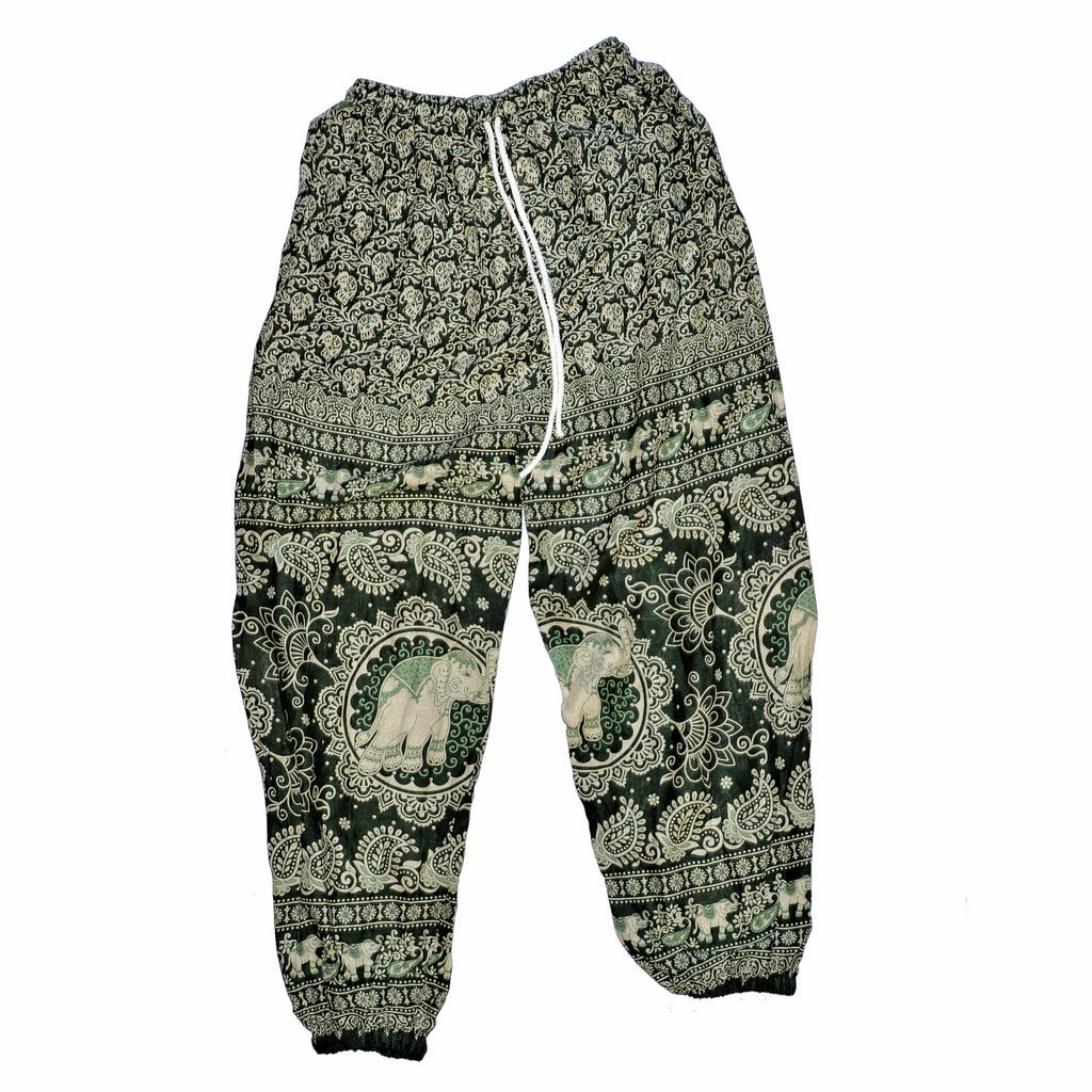 Children's Elephant Print Pants - Dark Green