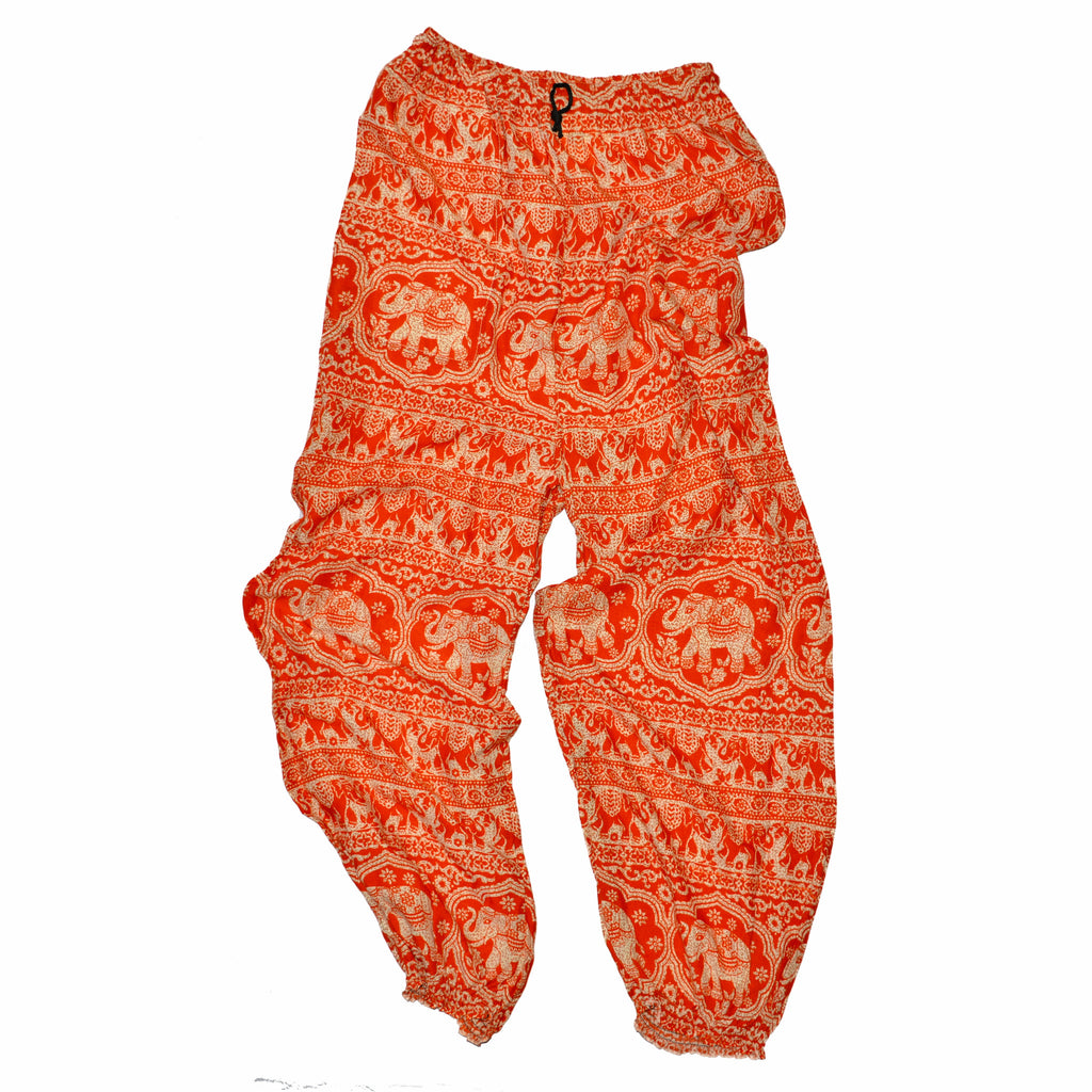 Elephant Print Pants - Orange