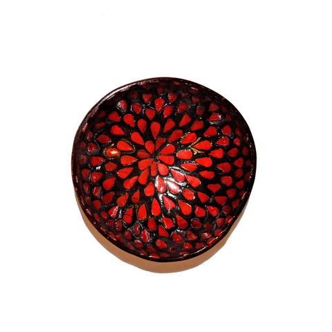 Oyster Shell Lacquered Coconut Shell Bowl - Red with Teardrop Shaped Shell