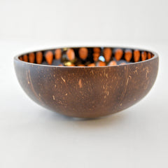 Oyster Shell Lacquered Coconut Bowl - Orange & Black