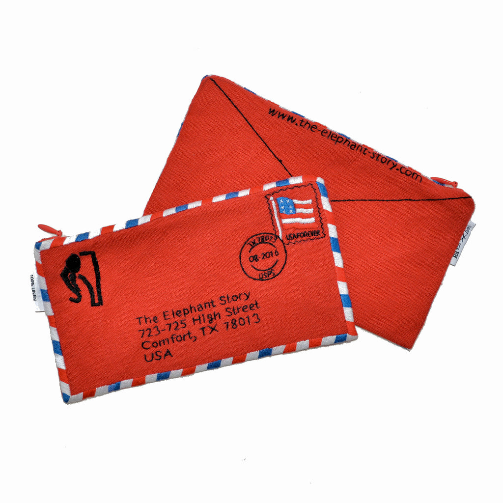 The Elephant Story Red Envelope Zipper Bag
