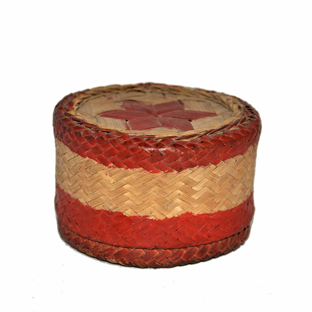 Antique Rattan Box with Lid