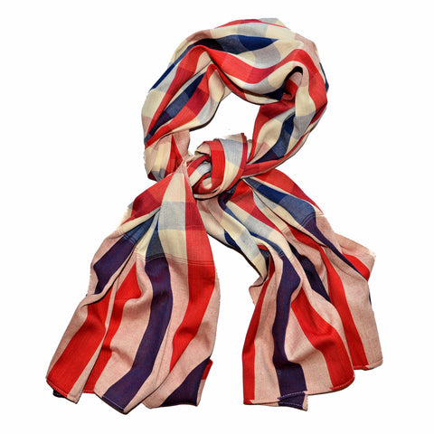 Thai Cotton Scarf - Red, White & Blue Check