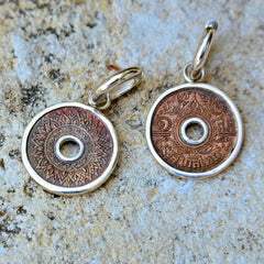 Thai Copper Coin Hoop Earrings