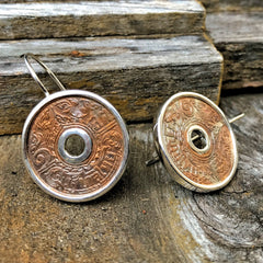 Thai Copper Coin Earrings