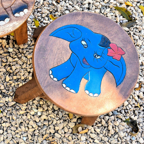 Carved Wood Child's Elephant Stool - Blue Elephant