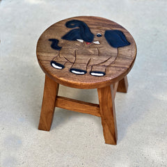 Carved Wood Child's Elephant Stool - Happy Elephant