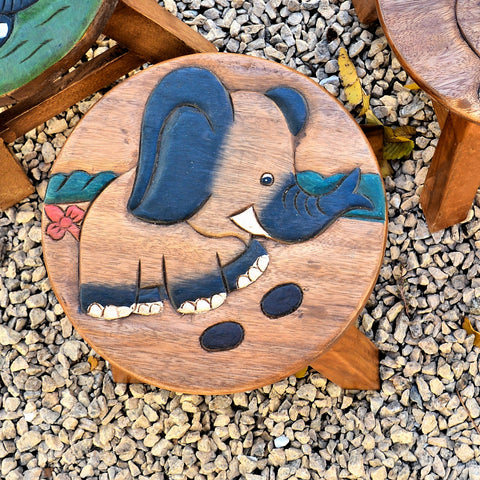 Carved Wood Child's Elephant Stool - Elephant Footprints