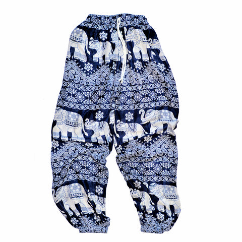 Elephant Print Pants - Navy Blue