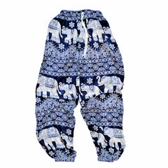 Elephant Print Lounge Pants - Navy Blue
