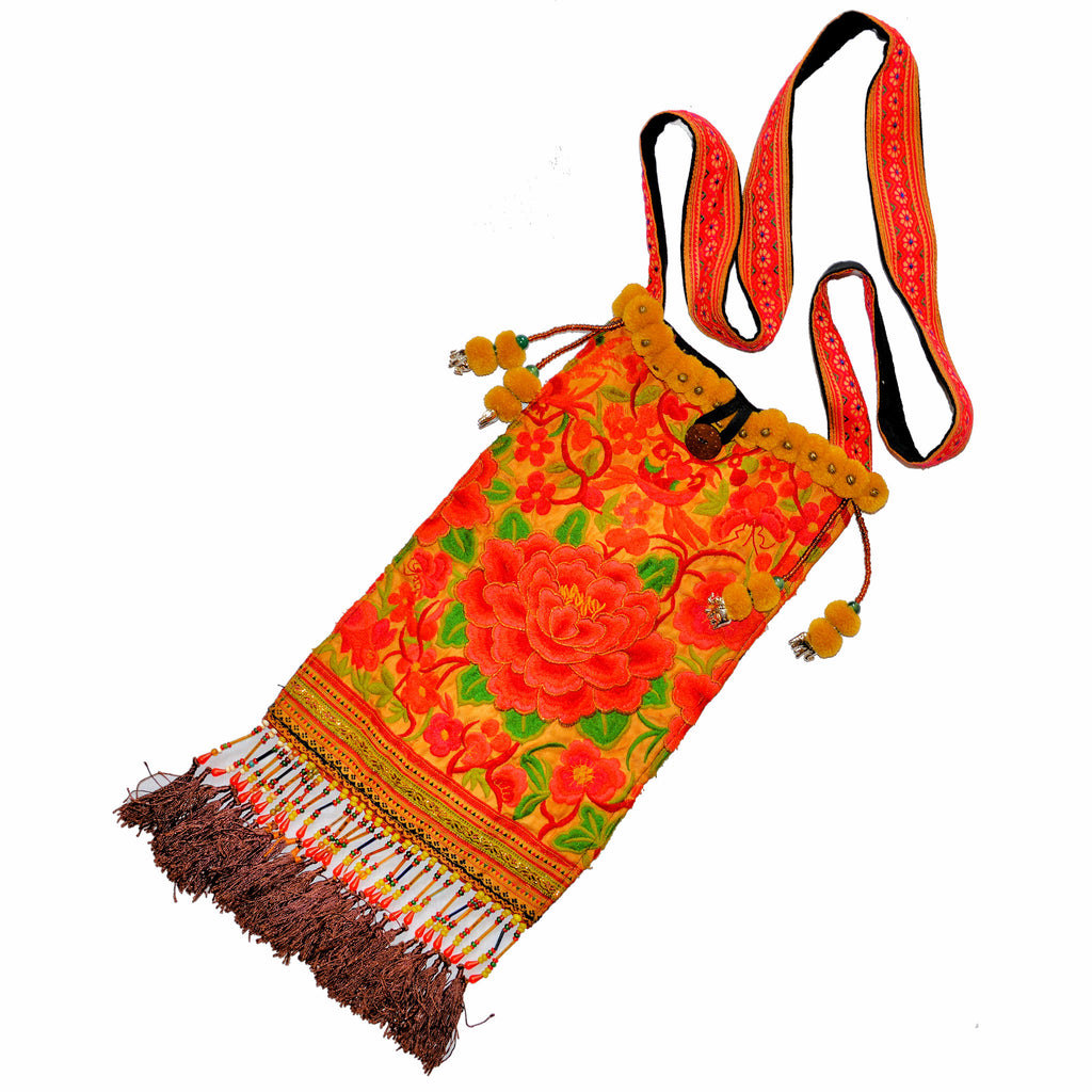 Embroidered Hmong Shoulder Bag with Beaded Tassels (Large Flower)