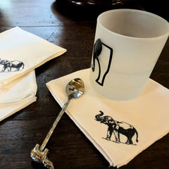 Elephant Ink Stamped Cocktail Napkin