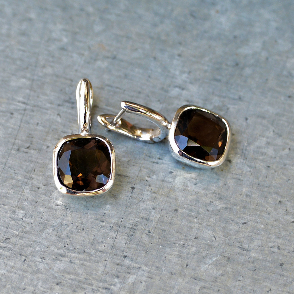 Sterling Silver Hook Cut Smoky Quartz Earrings
