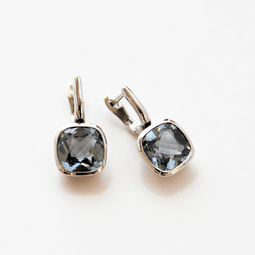 Silver Hook Topaz Earrings